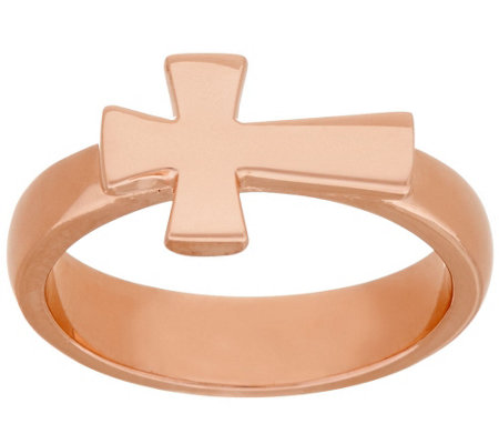 """As Is"" Bronze Polished Horizontal Cross Ring by Bronzo Italia"