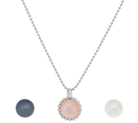 """As Is"" Honora Cultured Pearl Sterling Interchangeable Magnet Pendant"
