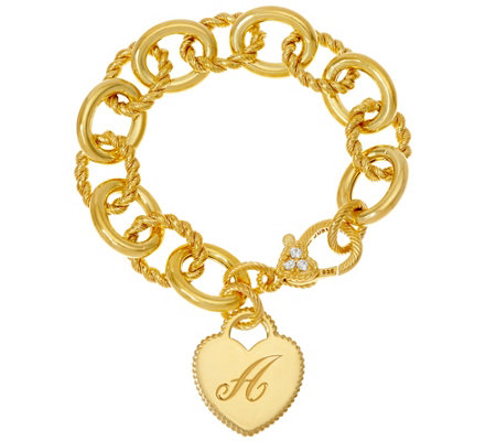 """As Is"" Judith Ripka 14K Clad Verona Heart Initial Link Bracelet"