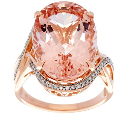 Oval Morganite and Diamond Bold Ring, 14K Gold 10.00 ct
