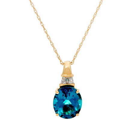 Teal Blue Apatite & Diamond Enhancer on Chain, 14K