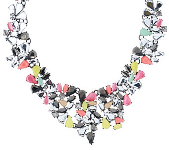 """As Is"" LOGO Links by Lori Goldstein 17"" Collar Necklace with Stones - J331060"