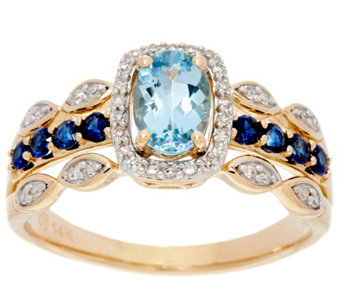 Santa Maria Aquamarine and Sapphire Ring, 14K Gold, 0.75 cttw - J331260