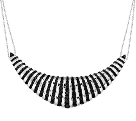 """As Is"" 18.00 cttw Black Spinel Sterling Frontal Design Necklace"