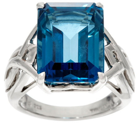 """As Is"" Emerald Cut London Blue Topaz Sterling Ring, 12.00 cts"