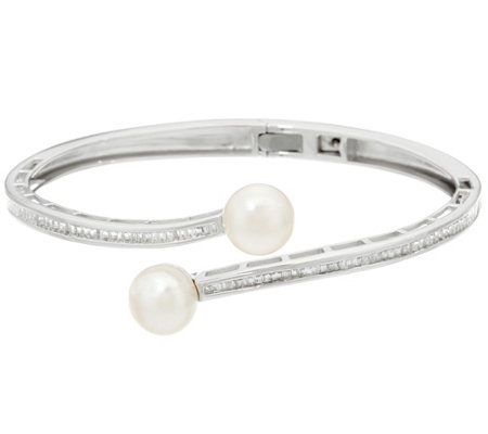 Honora Cultured Pearl 9.0mm & Baguette White Topaz Average Sterling Cuff