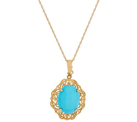 """As Is"" Sleeping Beauty Turquoise Filigree Design Enhancer 14K"