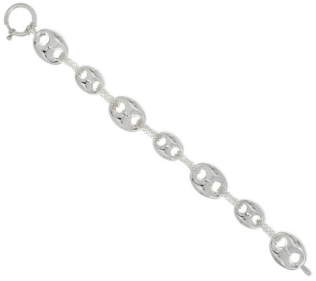 """As Is"" Sterling Silver 8"" Marine Link Bracelet by Silver Style"