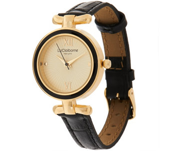 """As Is"" Liz Claiborne New York Curved T-Bar Strap Watch - J334560"
