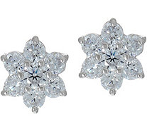 Diamonique Floral Cluster Stud Earrings, Sterling - J348160