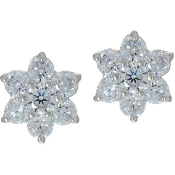 Diamonique Floral Cluster Stud Earrings, Sterling
