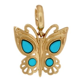 Sleeping Beauty Turquoise Butterfly Brass Charm by American West