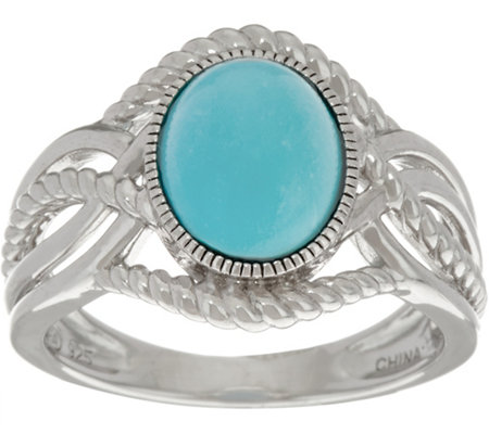 Oval Sterling Turquoise Rope Design Ring