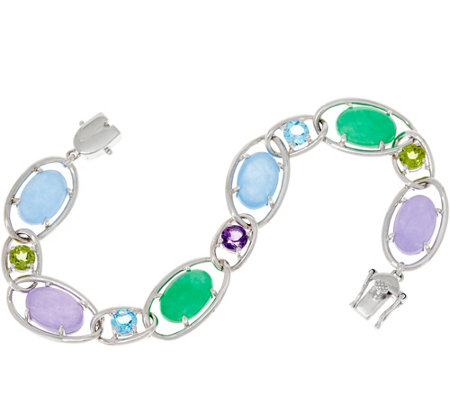Oval Jade and Multi-Gemstone Sterling Silver Tennis Bracelet