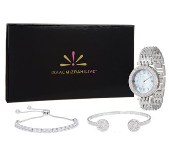 Isaac Mizrahi Live! 3-Piece Mother-of-Pearl Watch Set with Cuff & Bracelet - J350260