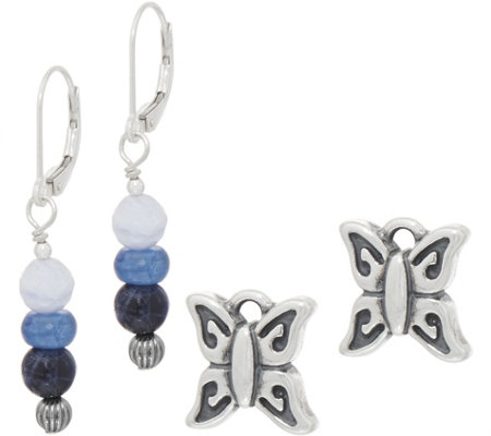 American West Sterling Silver Gemstone Bead & Charm Earring Set