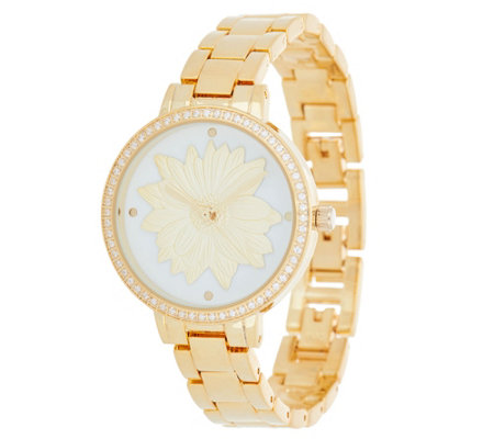 Diamonique Watch with 3D Flower Dial, Boxed