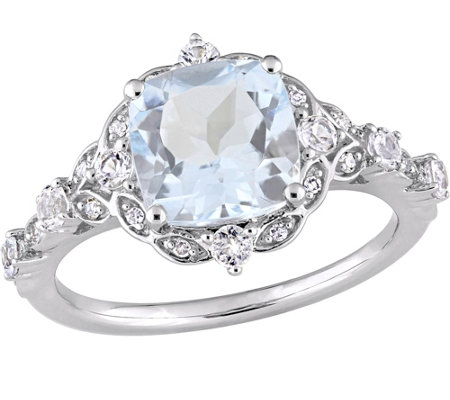 14K 2.55 cttw Aquamarine & White Sapphire Vintage-Style Ring