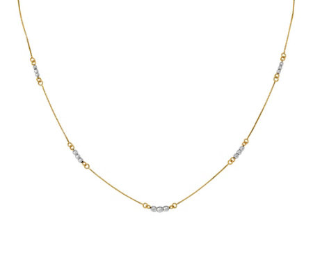14K Gold Two-Tone Mirror Beaded Necklace, 1.6g