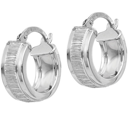 Italian Silver Textured Hoop Earrings, Sterling