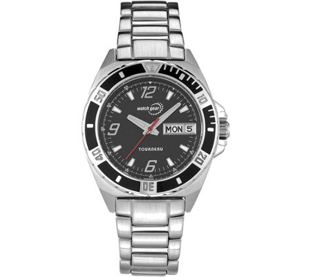 Tourneau Ladies Stainless Black Dial Analog Sport Watch