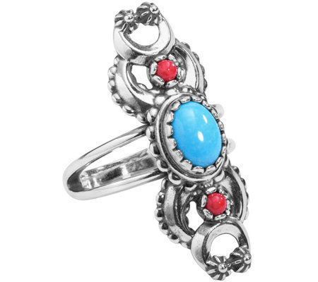 American West Sterling Naja Red Coral & Turquoise Ring