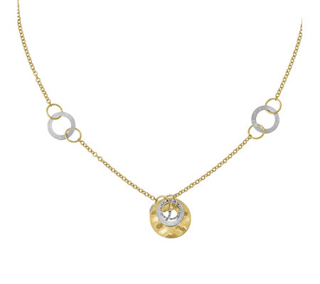 "Italian Gold 18"" Round Link Station Necklace 14K, 5.8g"