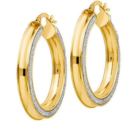 "Italian Gold 1-1/4"" Glimmer Hoop Earrings 14K,3.7g"