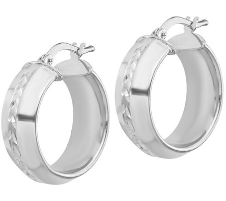 Italian Silver Diamond-Cut Round Hoop Earrings