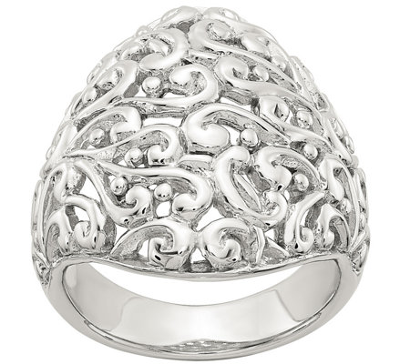 Sterling Silver Domed Filigree Ring