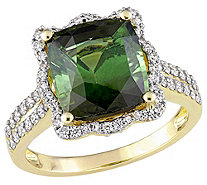 14K Gold 4.50 cttw Green Tourmaline & 5/8 cttwDiamond Ring - J383660