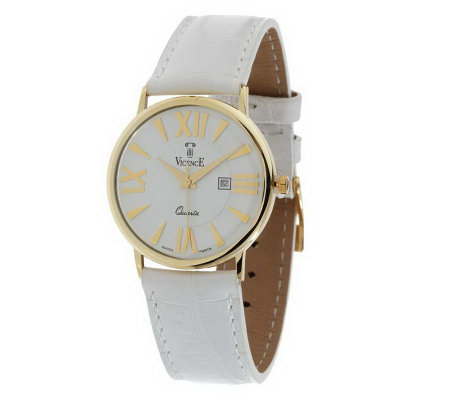 Vicence Bold Face Watch w/Colored Leather Strap 14K Gold