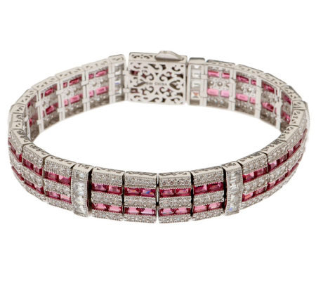 Smithsonian Simulated Ruby and Diamond Bracelet