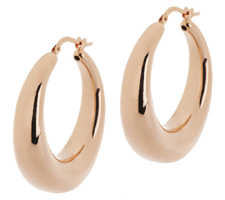 "Bronze 1-1/4"" Graduated Round Hoop Earrings by Bronzo Italia"