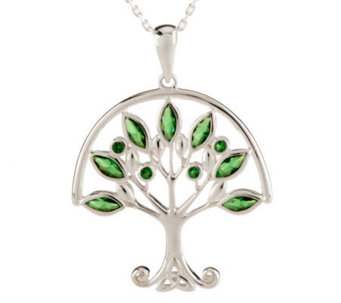 Solvar Sterling Silver Green Family Tree Pendant - J275961