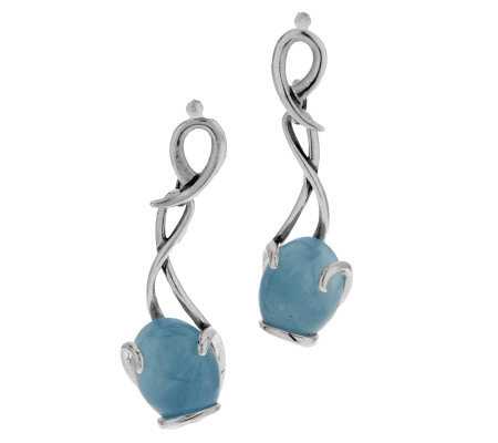 Carolyn Pollack Sterling and Milky Aquamarine Dangle Earrings