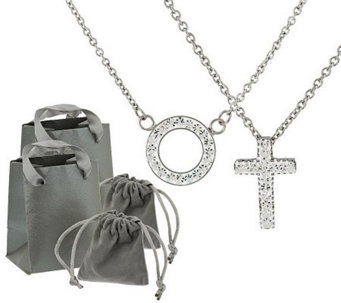Stainless Steel Set of Two Crystal Pendants with Gift Packaging - J284761
