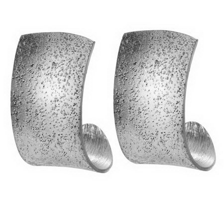 """As Is"" Vicenza Silver Sterling Diamond Finish Hoop Earrings"