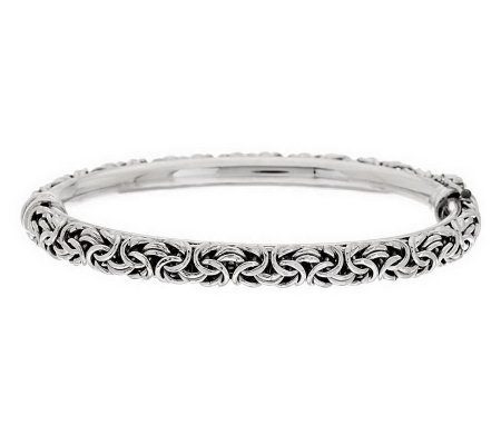"""As Is"" Italian Silver Sterling Average Hinged Bangle, 17.5g"