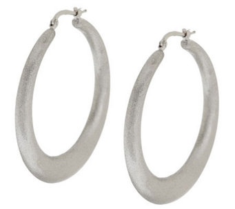 "Vicenza Silver Sterling 1-3/4"" Satin Finish Round Hoop Earrings - J288261"