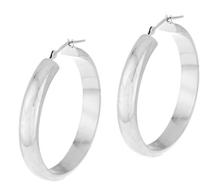 "1-1/4"" Polished Round Tube Hoop Earrings 14K Gold"