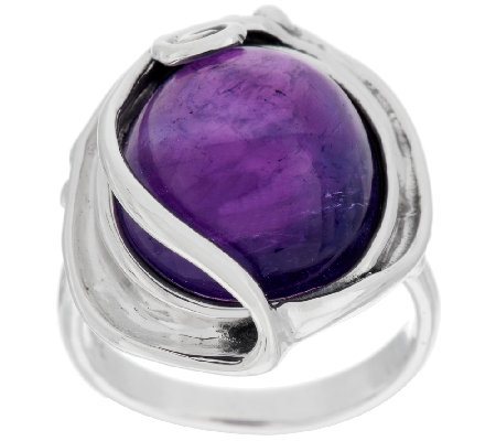 Hagit Sterling 13.00ct Amethyst Cabochon Ring