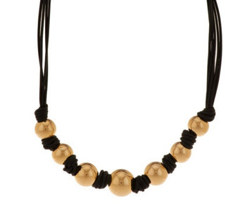 """As Is"" Oro Nuovo Leather Graduated Bead Necklace,  14K Gold - J290661"