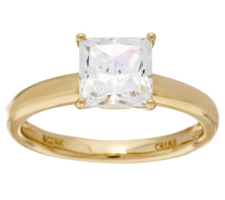 Diamonique 1.50cttw Solitaire Ring, 14K Gold