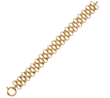 "14K Gold 7-1/4"" Textured & Diamond Cut Woven Bracelet, 11.4g"