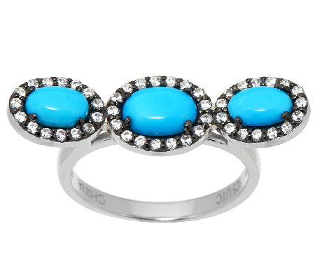 Graziela Gems Sleeping Beauty Turquoise & Zircon Sterling Wave Ring