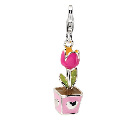 Amore La Vita Sterling Dimensional Potted PinkTulip Charm