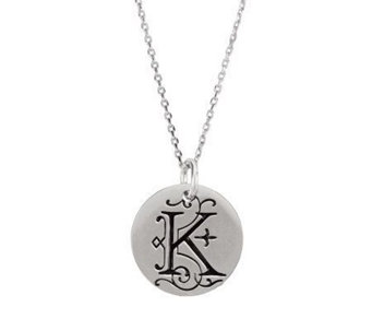 Posh Mommy Sterling Large Initial Disc Pendantwith Chain - J300061