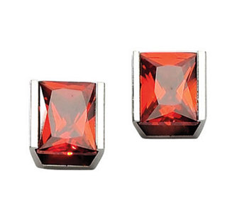 Stainless Steel Red Cubic Zirconia Stud Earrings - J302461