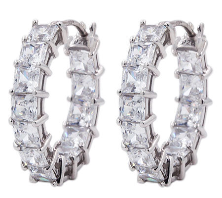 Diamonique Princess Cut 7.00 cttw Hoop Earrings , Platinum Cla